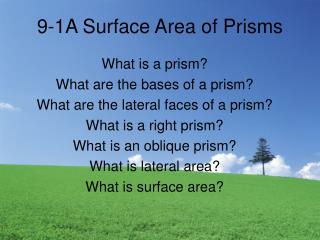 9-1A Surface Area of Prisms