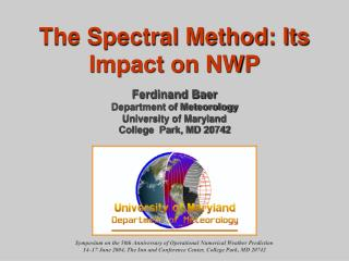 Symposium on the 50th Anniversary of Operational Numerical Weather Prediction
