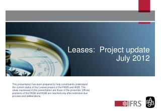 Leases:  Project update July 2012