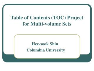 Table of Contents (TOC) Project for Multi-volume Sets