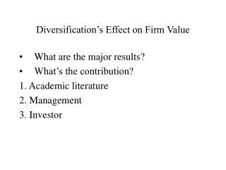 Diversification's Effect on Firm Value