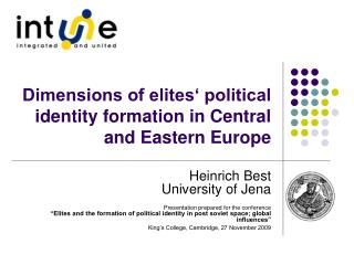 Dimensions of elites' political identity formation in Central and Eastern Europe
