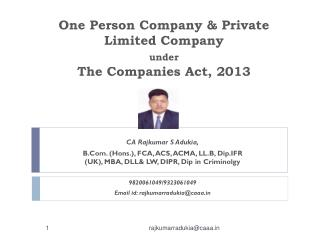 One Person Company & Private Limited Company  under The Companies Act, 2013