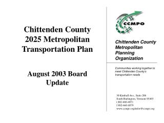 Chittenden County 2025 Metropolitan Transportation Plan