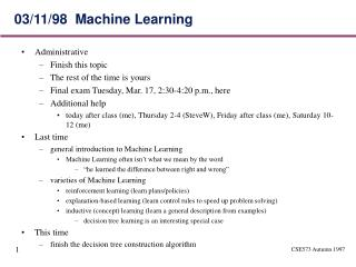 03/11/98  Machine Learning