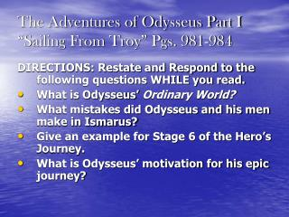 """The Adventures of Odysseus Part I """"Sailing From Troy"""" Pgs. 981-984"""