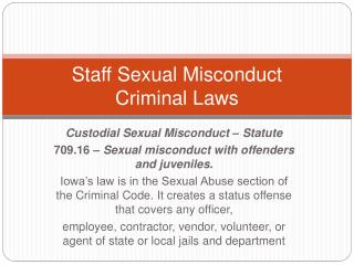 Staff Sexual Misconduct Criminal Laws