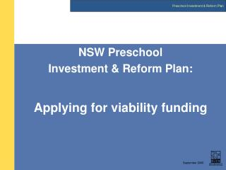 NSW Preschool  Investment & Reform Plan: Applying for viability funding