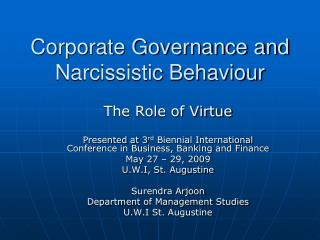 Corporate Governance and Narcissistic Behaviour