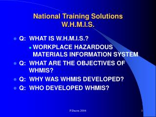 National Training Solutions W.H.M.I.S.