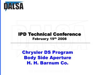 Chrysler DS Program  Body Side Aperture H. H. Barnum Co.