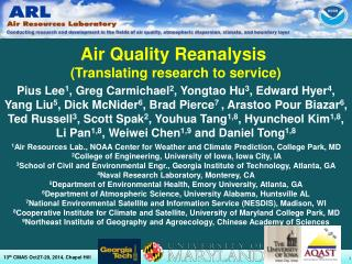 Air Quality Reanalysis  (Translating research to service)