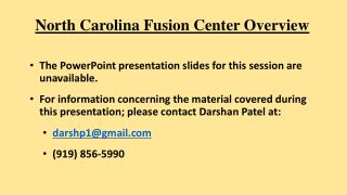 North Carolina Fusion Center Overview