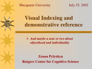 Visual Indexing and demonstrative reference