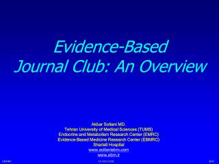 Evidence-Based  Journal Club: An Overview