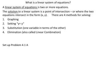 What is a linear system of equations?