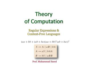 Theory  of Computation Regular Expressions &  Context-Free Languages