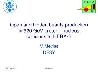 Open and hidden beauty production in 920 GeV proton –nucleus collisions at HERA-B