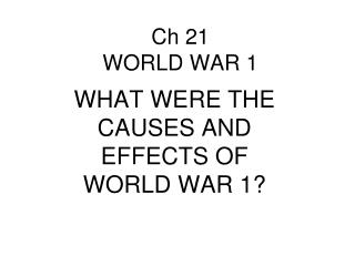 Ch 21 WORLD WAR 1