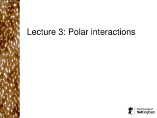 Lecture 3: Polar interactions