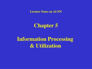 Lecture Notes on AI-NN