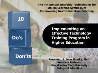 Implementing an Effective Technology Training Program in Higher Education