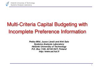 Multi-Criteria Capital Budgeting with Incomplete Preference Information