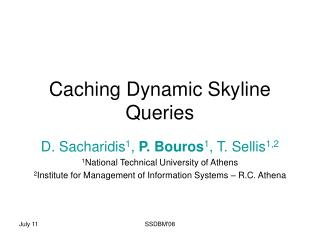 Caching Dynamic Skyline Queries