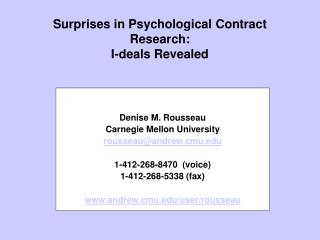 Surprises in Psychological Contract Research:  I-deals Revealed