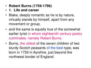 Robert Burns (1759-1796) 1.  Life and career
