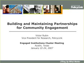 Building and Maintaining Partnerships  for Community Engagement