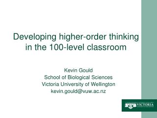 Developing higher-order thinking in the 100-level classroom