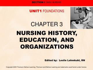 NURSING HISTORY, EDUCATION, AND ORGANIZATIONS Edited by:  Leslie Lehmkuhl, RN