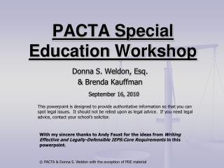 PACTA Special Education Workshop