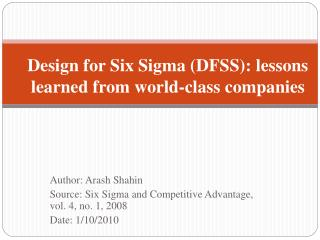 Design for Six Sigma (DFSS): lessons learned from world-class companies