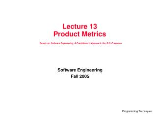 Software Engineering Fall 2005