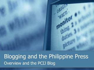 Blogging and the Philippine Press