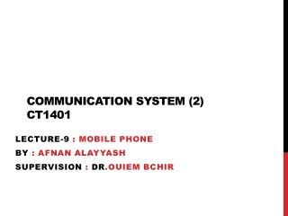 Communication system (2)  CT1401