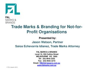 Trade Marks & Branding for Not-for-Profit Organisations
