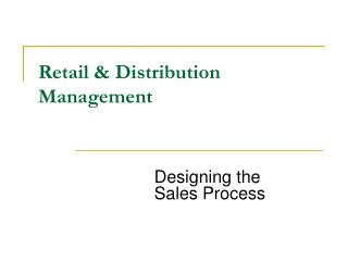 Retail & Distribution Management