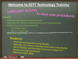 Welcome to EETT Technology Trainin g