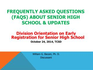 frequently asked questions ( faqs ) about senior high school & updates
