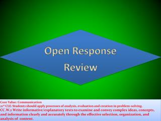 Open Response Review