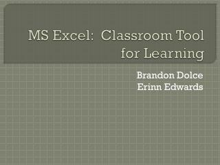 MS Excel:  Classroom Tool for Learning