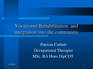 Vocational Rehabilitation  and integration into the community