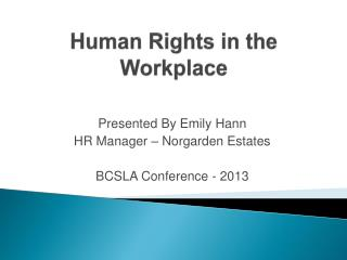 Human Rights in the Workplace