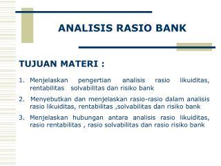ANALISIS  RASIO  BANK