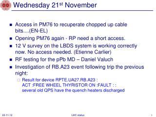 Wednesday 21 st November