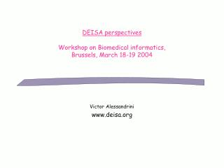 DEISA perspectives Workshop on Biomedical informatics,  Brussels, March 18-19 2004