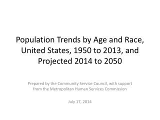 Population Trends by Age and Race, United States, 1950 to 2013, and Projected 2014 to 2050